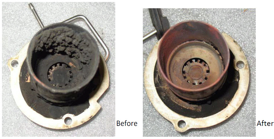 Pictures of the burner in your Espar Heaters before and after it was cleaned to optimize performance and extend life span.