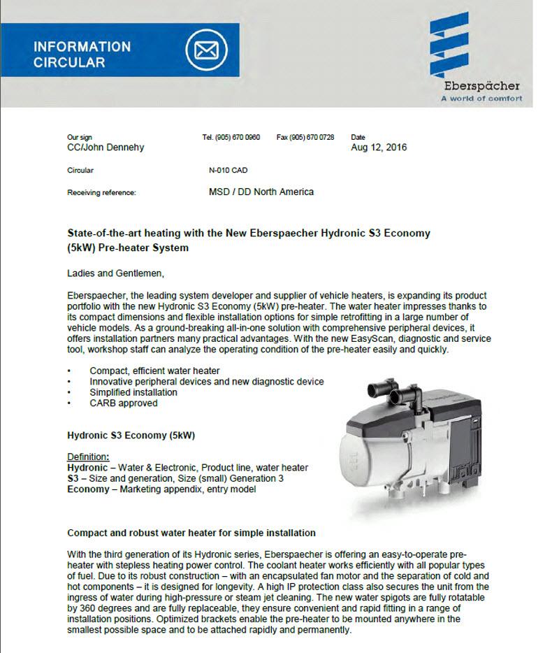 Hydronic S3 Information Circular