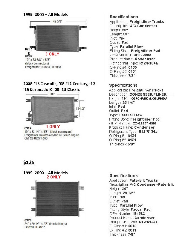 SALE - OE Replacement New Condensers for Freightliner, Kenworth, Navistar, Peterbilt & Volvo.