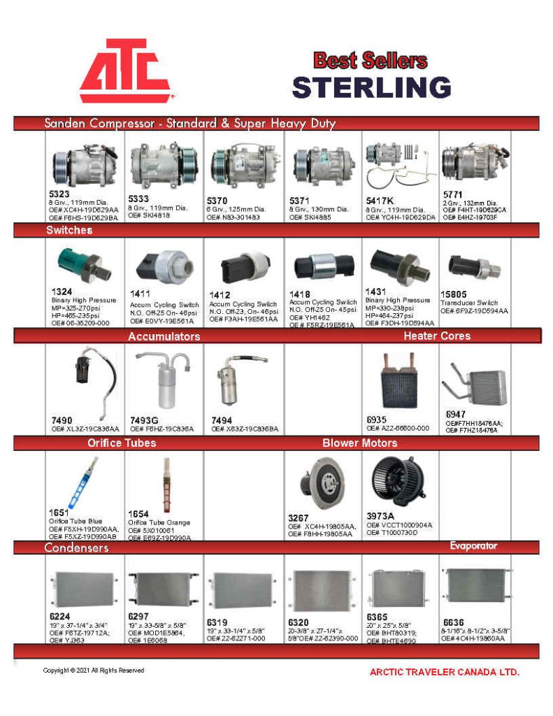 Best Sellers for Sterling - Compressors, Condensers, Clutches, Blowers, Expansion Valves, O'Rings, Receiver Driers and more.