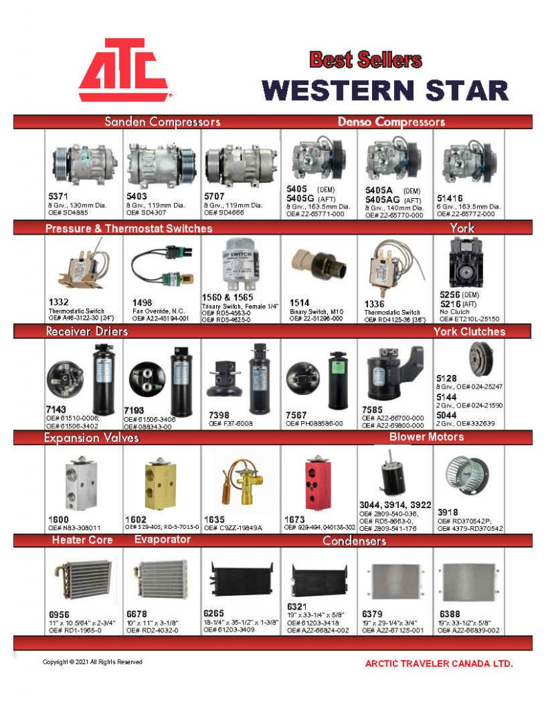 Best Sellers for Western Star - Compressors, Condensers, Clutches, Blowers, Expansion Valves, O'Rings, Receiver Driers and more.